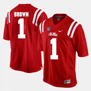 Men's Ole Miss #1 A.J. Brown Red Alumni Football Game Jersey 393743-538