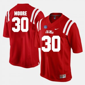 Men Ole Miss #30 A.J. Moore Red Alumni Football Game Jersey 822032-700