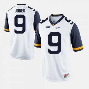 Men's West Virginia Mountaineers #9 Adam Jones White Alumni Football Game Jersey 586543-723