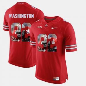 Mens Ohio State Buckeyes #92 Adolphus Washington Scarlet Pictorial Fashion Jersey 129749-998