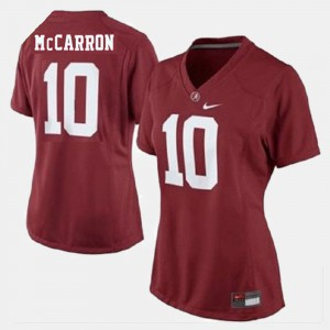 Ladies Alabama Roll Tide #10 A.J. McCarron Red College Football Jersey 836830-543