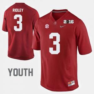 Youth(Kids) Alabama #3 Calvin Ridley Crimson College Football Jersey 356399-744