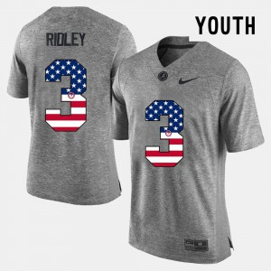 For Kids University of Alabama #3 Calvin Ridley Gray US Flag Fashion Jersey 354224-447
