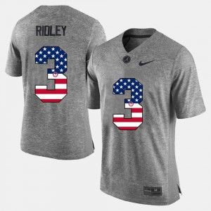 Mens Roll Tide #3 Calvin Ridley Gray US Flag Fashion Jersey 255019-730