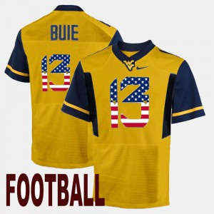 For Men West Virginia University #13 Andrew Buie Gold US Flag Fashion Jersey 477769-146