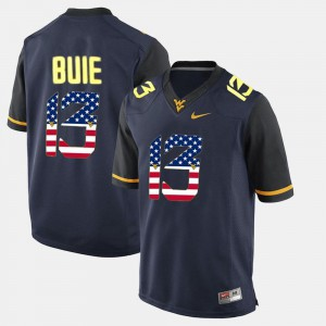 For Men West Virginia #13 Andrew Buie Navy Blue US Flag Fashion Jersey 217131-260