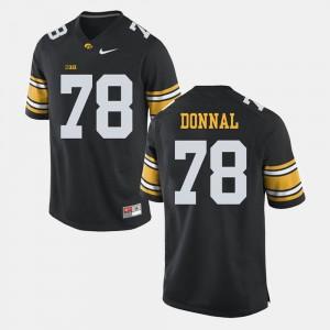 Mens Iowa Hawk #78 Andrew Donnal Black Alumni Football Game Jersey 968377-325