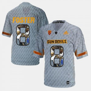 Men's ASU #8 D.J. Foster Gray Player Pictorial Jersey 686681-614