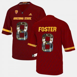 Men's Sun Devils #8 D.J. Foster Red Player Pictorial Jersey 392331-370