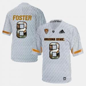 Men Arizona State Sun Devils #8 D.J. Foster White Player Pictorial Jersey 741517-531