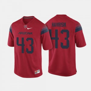 Men's Arizona #43 Lucas Havrisik Red College Football Jersey 848298-570