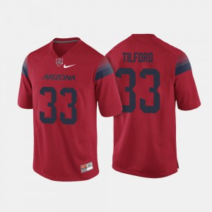 Mens UofA #33 Nathan Tilford Red College Football Jersey 583177-968