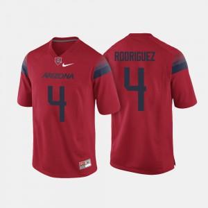 For Men University of Arizona #4 Rhett Rodriguez Red College Football Jersey 641041-126
