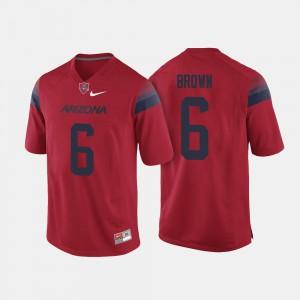 For Men's Arizona Wildcats #6 Shun Brown Red College Football Jersey 251910-864
