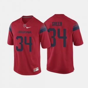 Men U of A #34 Zach Green Red College Football Jersey 424019-899