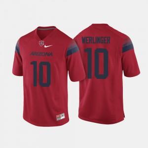 Men's Wildcats #10 Zach Werlinger Red College Football Jersey 681106-224