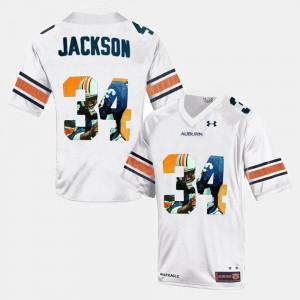 For Men AU #34 Bo Jackson White Throwback Jersey 346354-817