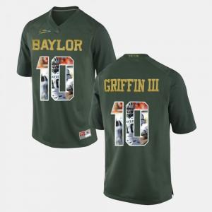 Men's Baylor Bears #10 Robert Griffin III Green Player Pictorial Jersey 626903-750