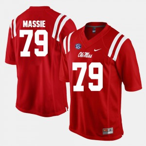 Men's Ole Miss Rebels #79 Bobby Massie Red Alumni Football Game Jersey 204917-668