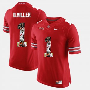 Mens Ohio State Buckeyes #1 Braxton Miller Scarlet Pictorial Fashion Jersey 595518-520