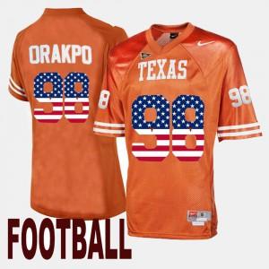 Men's UT #98 Brian Orakpo Orange US Flag Fashion Jersey 986053-136
