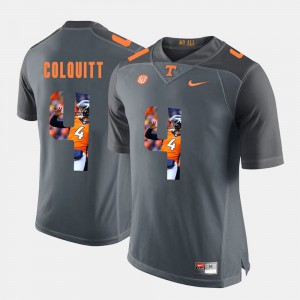 For Men's Tennessee Volunteers #4 Britton Colquitt Grey Pictorial Fashion Jersey 943421-478
