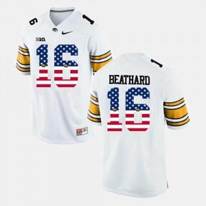 Men's Hawkeyes #16 C.J Beathard White US Flag Fashion Jersey 729555-995
