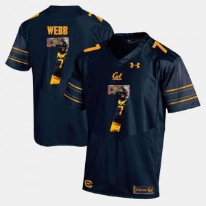 For Men's Cal Berkeley #7 Davis Webb Navy Blue Player Pictorial Jersey 615444-374