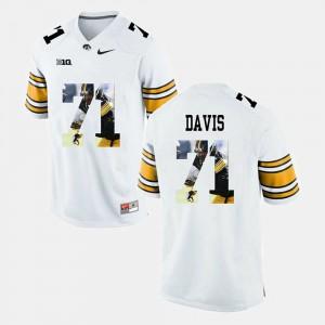 Men's Iowa Hawk #71 Carl Davis White Pictorial Fashion Jersey 160135-584