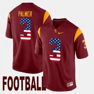 Men USC Trojan #3 Carson Palmer Maroon US Flag Fashion Jersey 587379-269
