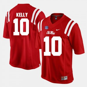 For Men's University of Mississippi #10 Chad Kelly Red Alumni Football Game Jersey 537807-494