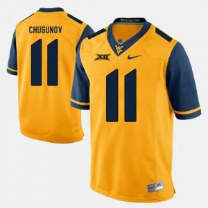 For Men West Virginia #11 Chris Chugunov Gold Alumni Football Game Jersey 244122-907