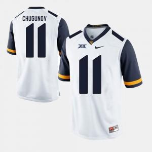 Men West Virginia University #11 Chris Chugunov White Alumni Football Game Jersey 897374-150