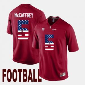 Men's Stanford Cardinal #5 Christian McCaffrey Cardinal US Flag Fashion Jersey 455309-819