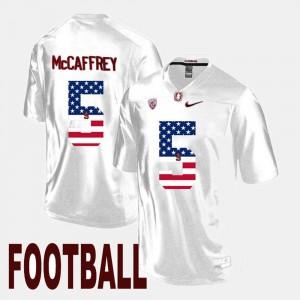 Men's Stanford Cardinal #5 Christian McCaffrey White US Flag Fashion Jersey 540017-238