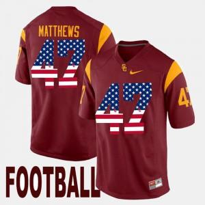 Mens USC Trojans #47 Clay Matthews Maroon US Flag Fashion Jersey 159510-761