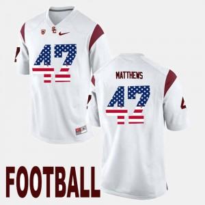 For Men's USC Trojan #47 Clay Matthews White US Flag Fashion Jersey 123806-437