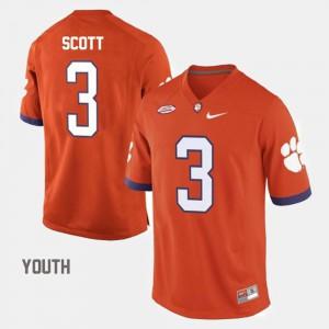 Youth(Kids) Clemson University #3 Artavis Scott Orange College Football Jersey 572462-971
