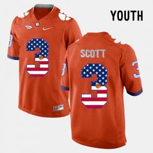 For Kids Clemson #3 Artavis Scott Orange US Flag Fashion Jersey 194659-321