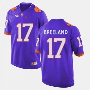 For Men's Clemson Tigers #17 Bashaud Breeland Purple College Football Jersey 957843-666