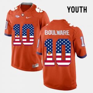 Kids Clemson #10 Ben Boulware Orange US Flag Fashion Jersey 550485-281