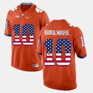 Mens Clemson University #10 Ben Boulware Orange US Flag Fashion Jersey 315463-260