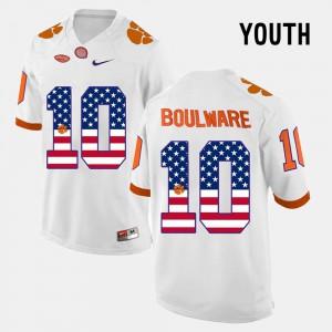 Youth(Kids) Clemson University #10 Ben Boulware White US Flag Fashion Jersey 501464-758