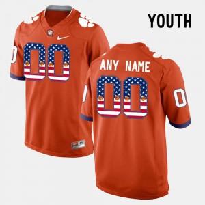 Youth(Kids) Clemson Tigers #00 Orange US Flag Fashion Customized Jersey 786472-933