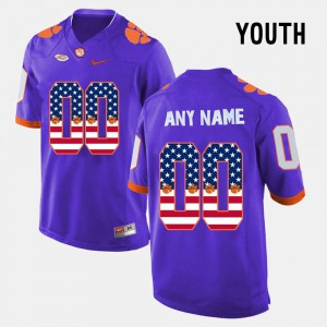 Youth(Kids) Clemson Tigers #00 Purple US Flag Fashion Custom Jersey 980340-486