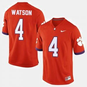 For Men's Clemson Tigers #4 Deshaun Watson Orange College Football Jersey 934709-758