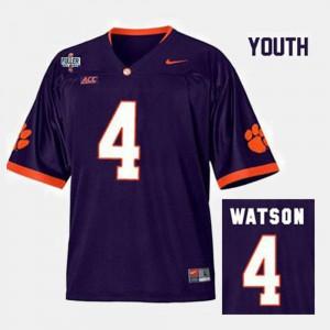 Youth CFP Champs #4 Deshaun Watson Purple College Football Jersey 625638-935
