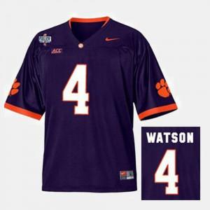For Men Clemson Tigers #4 Deshaun Watson Purple College Football Jersey 709299-510