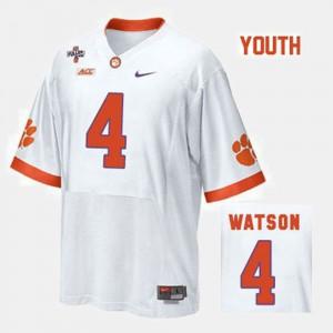 Youth(Kids) Clemson University #4 Deshaun Watson White College Football Jersey 776836-941