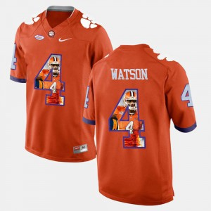 Men's Clemson University #4 DeShaun Watson Orange Pictorial Fashion Jersey 518622-477